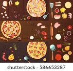 set of banners with pizza... | Shutterstock .eps vector #586653287