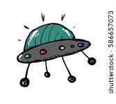 flying saucer in cartoon style... | Shutterstock .eps vector #586657073