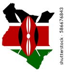 flag map of kenya | Shutterstock .eps vector #586676843