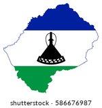 flag map of lesotho | Shutterstock .eps vector #586676987