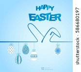 happy easter background with... | Shutterstock .eps vector #586680197