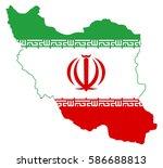 flag map of iran   Shutterstock .eps vector #586688813
