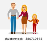 cute cartoon family. mother ... | Shutterstock .eps vector #586710593