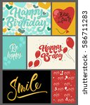 set of 6 greeting cards and...   Shutterstock .eps vector #586711283