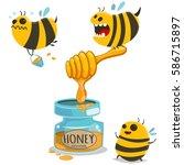 honey jar and cute cartoon bees.... | Shutterstock .eps vector #586715897
