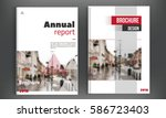 red annual report  brochure... | Shutterstock .eps vector #586723403