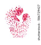 happy mother's day  silhouette... | Shutterstock .eps vector #586729427