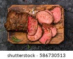 roast beef on cutting board...