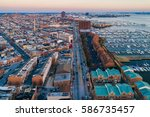 aerial view of boston street... | Shutterstock . vector #586735457
