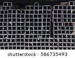 pile up metal pillars for... | Shutterstock . vector #586735493