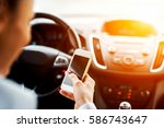 Small photo of Drive typing female. Smart phone accident distract driving car.