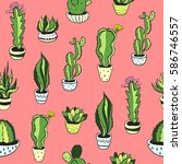 seamless pattern with green... | Shutterstock .eps vector #586746557