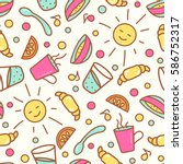 seamless pattern with breakfast ... | Shutterstock .eps vector #586752317