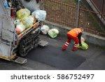 garbage truck  worker man...   Shutterstock . vector #586752497