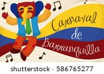 Commemorative banner with happy marimonda character listening traditional Colombian folklore music in the Barranquilla