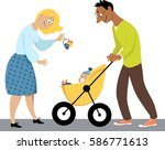 young family with a baby in a... | Shutterstock .eps vector #586771613