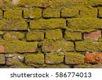Old Destroyed Bricks Wall With...