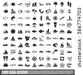 100 sea boat icons set in... | Shutterstock .eps vector #586774703