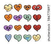 set of cute lovely emoticons.... | Shutterstock . vector #586775897