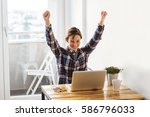 excited casual entrepreneur... | Shutterstock . vector #586796033