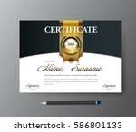 certificate template a4 size... | Shutterstock .eps vector #586801133