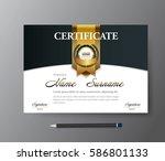certificate template a4 size...   Shutterstock .eps vector #586801133