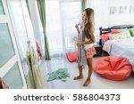 10 years old pre teen girl...   Shutterstock . vector #586804373