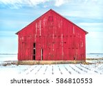 Old Red Barn On A Cold And...