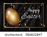 easter gold eggs with confetti... | Shutterstock .eps vector #586822847