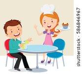 waitress serving muffin to a... | Shutterstock .eps vector #586846967