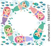 mermaid with blue green and... | Shutterstock .eps vector #586853477