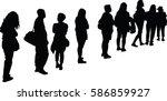 full length of silhouette... | Shutterstock .eps vector #586859927
