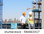 engineers are working on... | Shutterstock . vector #586863317