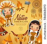 native american traditional... | Shutterstock .eps vector #586868693