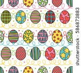 easter eggs. seamless vector... | Shutterstock .eps vector #586873883