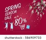 spring sale banner for spring... | Shutterstock .eps vector #586909733