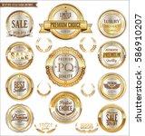 premium and luxury golden retro ... | Shutterstock .eps vector #586910207