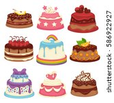 decorated sweet festival cakes... | Shutterstock .eps vector #586922927