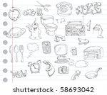 Notebook paper doodles. Set number 2