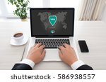 man holding notebook with app... | Shutterstock . vector #586938557
