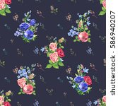 vector floral seamless pattern... | Shutterstock .eps vector #586940207