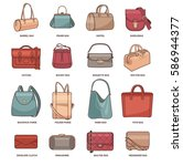 vector set with types of bags ... | Shutterstock .eps vector #586944377