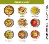 italian cuisine flat colorful... | Shutterstock .eps vector #586944407