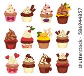 cupcakes and cakes logo... | Shutterstock .eps vector #586944857