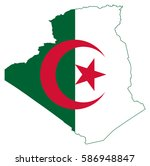 flag map of algeria   Shutterstock .eps vector #586948847