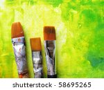 Artists Paint Brushes In Studi...