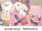 close up of girlfriends couple... | Shutterstock . vector #586961813