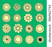 set of hand drawn flowers | Shutterstock .eps vector #586962743