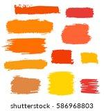 orange vector brush strokes of... | Shutterstock .eps vector #586968803