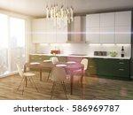 kitchen interior. 3d... | Shutterstock . vector #586969787